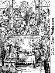 Frontispiece: The King and Queen inspecting the tarts. Alice...