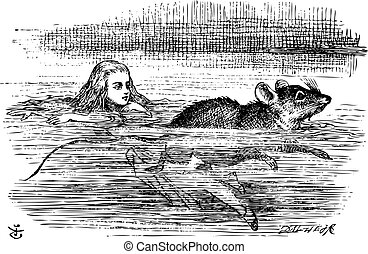 Alice swimming near a mouse - Alice in Wonderland. Alice...