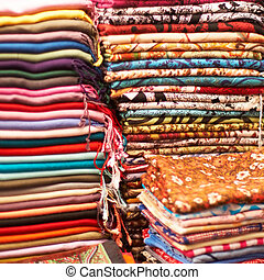 Colorful shawls - Variety of colorful indian shawls