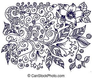 ink floral design