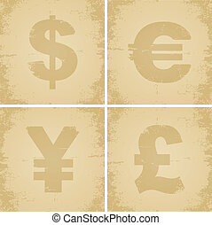 Four currency symbol for the old cracked paper
