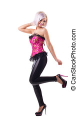 Young sexy woman stand in red girdle - Young sexy blond girl...