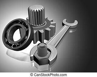 Mechanism concept 3d render of a gear