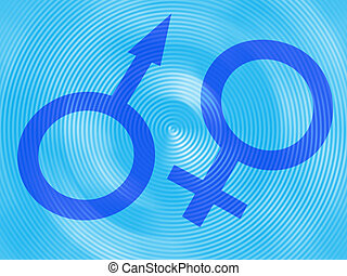 Machismo and feminine symbols on a blue background
