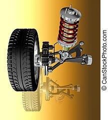 Car wheels - 3d illustration of Car wheels