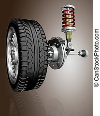 Car wheels - 3d illustration of Car wheels