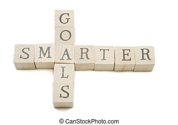 Smarter Goals Wooden Blocks - Smarter goals concept spelled...
