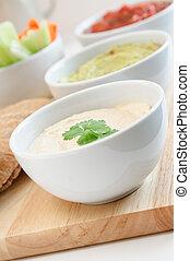 Hummus, Guacamole and Salsa Dip Bowls - Hummus, guacamole...