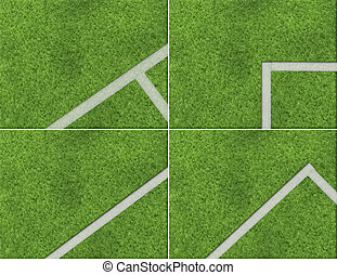 Football ground - The drawn football ground with a white...