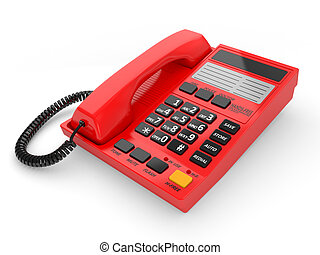 Modern red office telephone