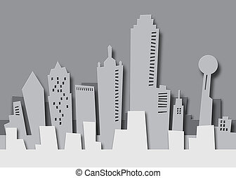 Paper Dallas - Cartoon skyline of Dallas Texas as paper...