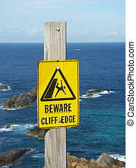 Tenga cuidado, acantilado, borde, señal