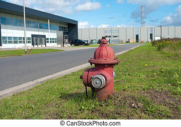 fire hydrant - red fire hydrant on an industrial area
