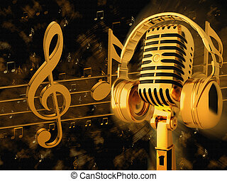Gold vintage microphone and headphones on the background of...