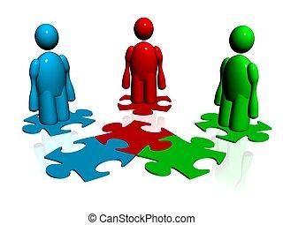 puzzle - 3d illustration of puzzle concept