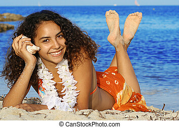 young smiling, woman on beach summer vacation