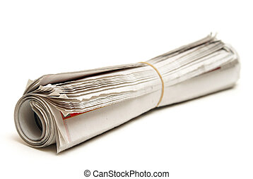 Rolled Newspaper - An isolated newspaper that has been...