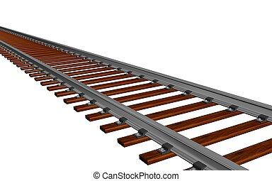 Train track - 3d illustration of a train track in white...
