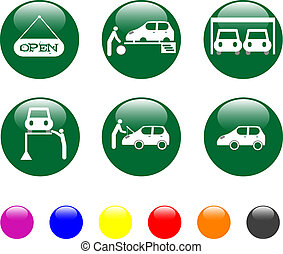 car service green icon shiny button