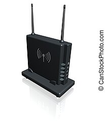 modem - Wireless router with antenna.