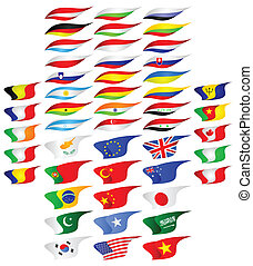Flags of the different countries.