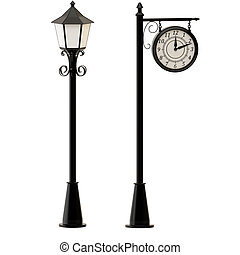 Street lamppost and clocks isolated on white background.