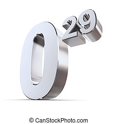 Solid Price Tag Number 0.29 - Shiny Silver-Chrome