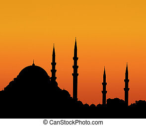Istanbul sunset - Silhouette of Suleymaniye mosque at sunset...