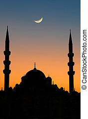 Istanbul Yeni mosque sunset - Silhouette of Yeni Camii...