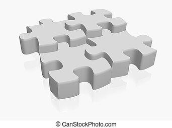 puzzle - 3d illustratio of puzzle