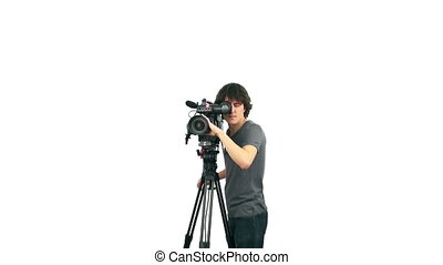 Professional cameraman, isolated on white background