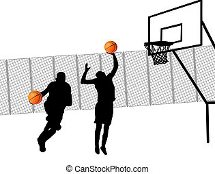 Street basketball players silhouette, vector illustration