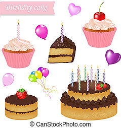 Birthday Cake Set, Isolated On White Background, Vector...