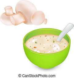 Mushroom Cream Soup And Mushroom, Isolated On White...
