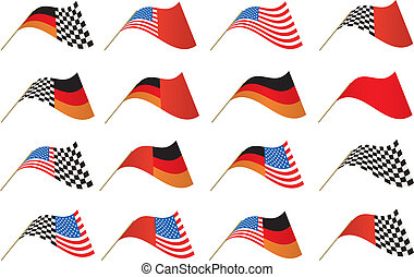 USA, German and Checkered Flags - Stars and Stripes, German...