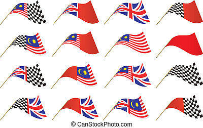UK, Malaysian and Chekered Flags