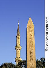 Minaret obelisk - Egyptian obelisk near Blue Mosque in old...