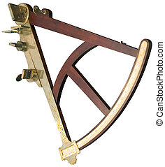 Sextant cutout - Old handy sextant isolated with clipping...