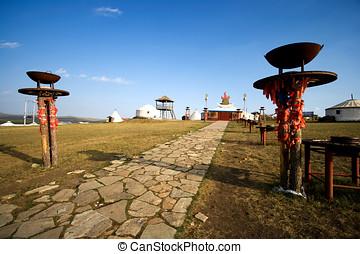 Inner Mongolia Yurt - The worship yurt in Inner Mongolia,...