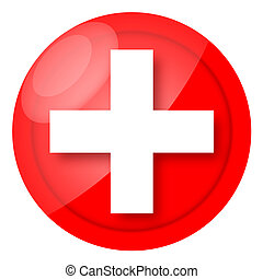 Medical icon - Red medical sign with cross isolated over...