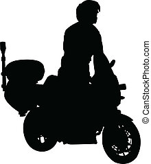 motorcyclist silhouette - vector