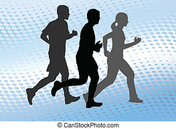 runners on the abstract background - runners silhouettes on...
