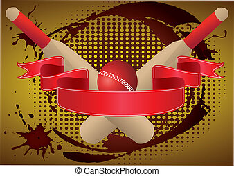 cricket red ribbon - cricket bats and ball with grunge and...