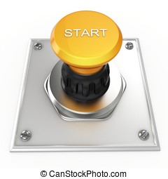 3d yellow start button isolated on white