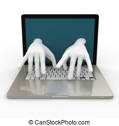 3d laptop with writing hands