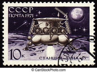 poste, estampilla, soviético, estación,...
