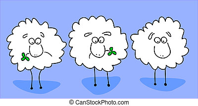 Animated sheep chewing clover leaf