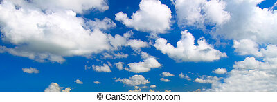 Panoramic Cloud Background - Panoramic view of scattered...