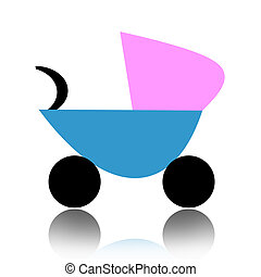 Baby carriage - Abstract baby carriage isolated over white...