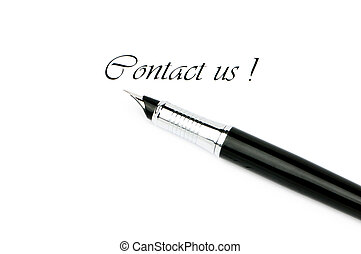 """Pen and """"Contact us"""" message on white"""